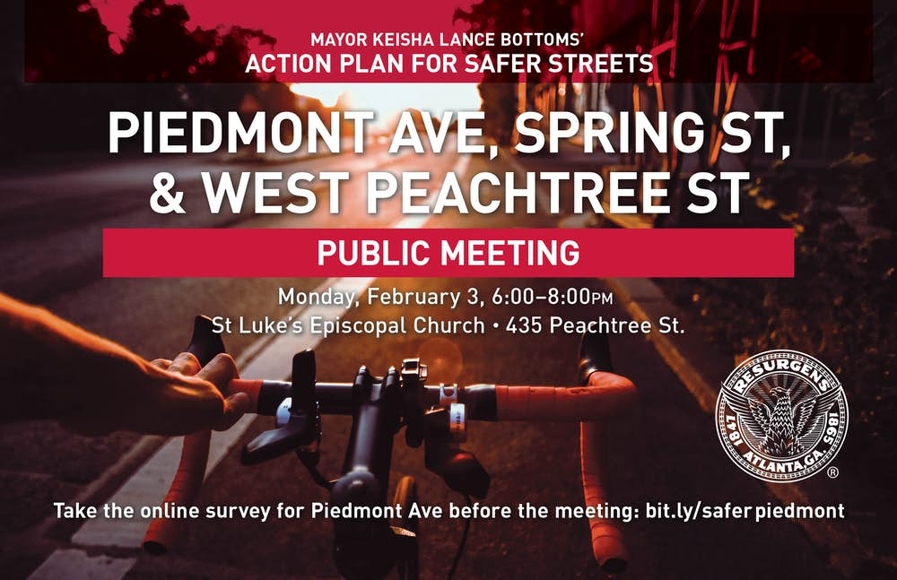ICYMI: Piedmont Ave, Spring St, & W. Peachtree Street Safer Streets Public Meeting